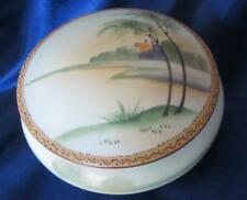 "Vintage Handpainted NIPPON DRESSER JAR    5"" Across  Peaceful Senic Decoration"