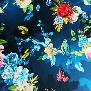2nd CLASS SALE! 40% OFF Printed velour Upholstery Fabric 250g Hummingbirds Blue