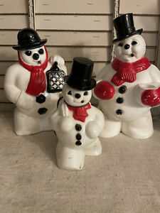 Vintage Set Hard Plastic Rosbro Snowman Candy Container And Light  Decorations