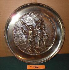 Vintage Solid Brass Decorative Decor Fisherman Scene Plate Lot 1316