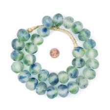 Jumbo Blue-Green Swirl Recycled Glass Beads 24mm Ghana African Sea Glass Round