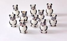 10 Black White Panda Bears Bear Lampwork Glass Beads 20mm by 10mm
