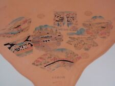 Vintage Ladies Square Silk Blend Chinese Scarf Natural Sites Salmon Color Marked