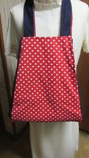 """""XL TOTE BAG - RED WITH WHITE DOTS AND DARK DENIM"""" - NEW - BACK TO SCHOOL"