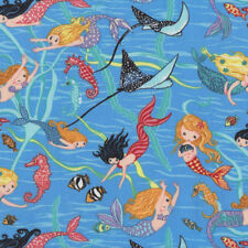 Mermaids on Blue Seahorses Fish Stingrays Ocean Girls Quilting Fabric FQ or Metr