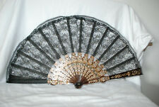 Large Vintage Celluloid Lace & CRYSTAL Hand Fan Made in Spain