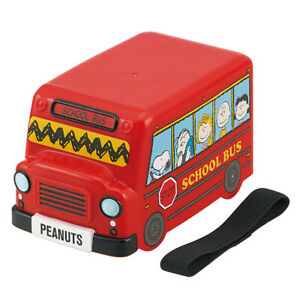 Snoopy School Bus 2 Layers Bento Lunch Box Food Container Cute Kids