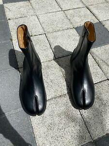 Handmade] Mens Shoes Leather Tabi Ankle Boots Flat Split Toe Side Zip Maison