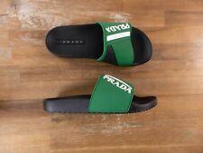 PRADA Ireland green graphic rubber slip-on sliders sandals - 8 US / 41 EU / 7 UK