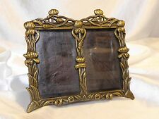 MINI BRASS Hued PICTURE FRAME Double Image Vintage Metal FREE STANDING Floral
