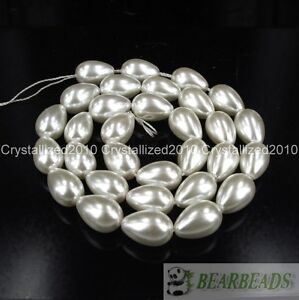 """Top Quality Czech Glass Pearl Pear Teardrop Spacer Loose Beads 9mm x 13mm 15.5"""""""