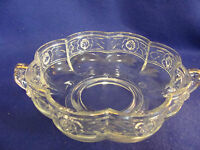 VTG. LOW CLEAR GLASS BOWL-GOLD TRIM-ROSE EMBOSSED-HANDLES-SCALLOPED