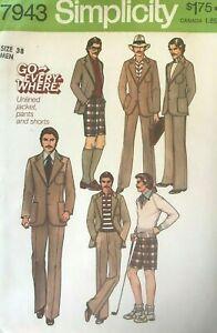 1970's VTG Simplicity  Men's Pants, Shorts, Jacket Pattern 7943 Size 38 UNCUT