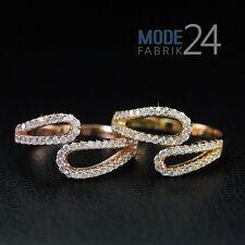 Echt Silber Sterling 925 Ring Damen Zirkonia Rose gold Blogger Statement Glitzer