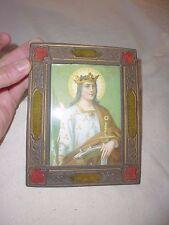 ancien petit cadre photo laiton doré repoussé velours soie religieux XIXe 1