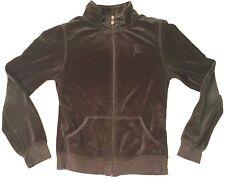 BCBG Max Azria full-zip velour track jacket women sz PM black Petite Old English