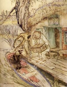 Wind in the Willows, Arthur Rackham Rat & Mole Print Poster Picture Image Art A4