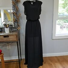 Lush nordstorm Womens Beautiful Black Long Dress Size XS sleevless flowy sheer
