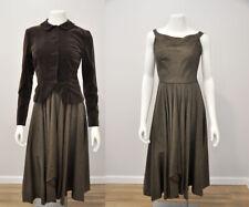 VTG 30s 40s Brown Silk Moire Sleeveless Dress Matching Velvet Blazer Jacket XS/S