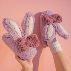 Cartoon rabbit plush slippers home comfort candy color warm wear