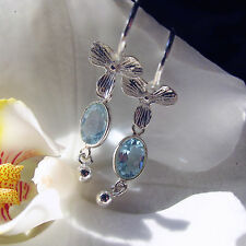 sky blaue topas ohrringe, bali  orchideen design, 925 silber
