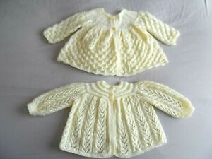 """TWO HAND KNITTED BABY MATINEE COATS  IN PALE LEMON. (18"""" chest )"""
