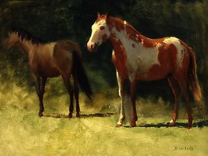 Two Horses A. Bierstadt Accent Tile Mural Kitchen Wall Backsplash Marble Ceramic