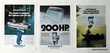 3 x Evinrude Outboard Motors  Magazine 1975 Print Ads  8 x 11