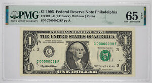 1995 $1 FEDERAL RESERVE NOTE PHILADELPHIA FR#1921-C PMG 65 EPQ LOW SERIAL 38