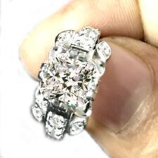2+ Ct Near White Cushion Moissanite Diamond Engagement Ring 925 Sterling Silver