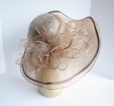 NEW Church Derby Wedding Sinamay & Organza Wide Brim Dress Hat Taupe VF3034