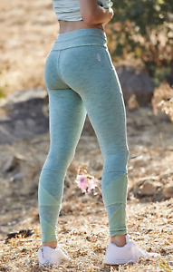 Free People Movement Kyoto Leggings Pants Mid Rise Ankle Blue Green Size XS NWT