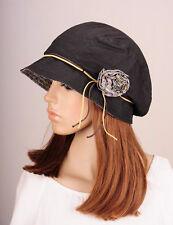M265 Black Beauty Flower Cotton Hat Round Brim Cap Cloche Summer Autumn Women's