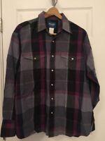 Wrangler Men's XL Pearl Snap Western Long Sleeve Plaid Shirt Purple Gray W3