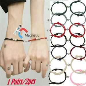 2Pcs Couple Bracelet Love Friendship Rope Braided Fashion Magnetic Bracelet - US