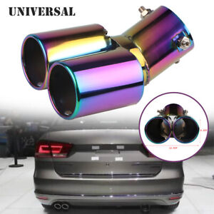 63MM Car Dual Exhaust Tail Throat Muffler Tip Pipe Stainless Steel Roasted Blue