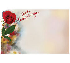 "50ct. ""Happy Anniversary"" Red Rose Blank Florist Enclosure Cards Small Tags Note"