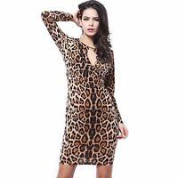 Womens Long Sleeve V-Neck Leopard Print Stretchy Bodycon Dress Size 8 -18