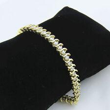 "NYJEWEL 14k Solid Gold Gorgeous 5ct Diamond S link Tennis Bracelet 8"""