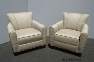 Pair of Vintage HBF Contemporary Modern Off White Lounge Chairs by HBF