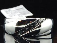 Mens 10K White Gold Black Diamond Engagement Ring 5 Stone Wedding Band Channel