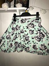 Black Green Mint Floral Mini Skirt Size 6 8