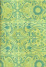 Bohemia Open Work Flowers Green Quilt Fabric - Free Shipping - 1 Yard