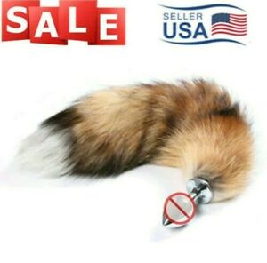 """BROWN Fox Dog Wolf Tail Stainless Steel 2"""" Plug #92 Romance Toy Cosplay Roleplay"""
