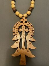 Ethiopian Orthodox Lalibela Large Wooden Prayer Beads Cross Necklace