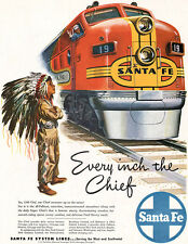 Santa Fe Railroad EVERY INCH THE CHIEF Little Indian Boy DAVE MINK 1948 Print Ad