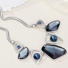 New Designer Fashion Blue Austria Crystals Rhinestone Statement Necklace Pendant