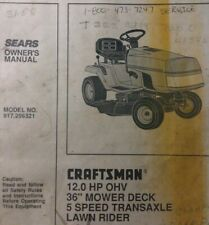 Sears Craftsman 11 hp 4sp Lawn Tractor & 36 Deck Owner & Parts Manual 502.254280