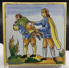 Antique Delfts Hand Painted Holland Naughty Boy Being Spanked Ceramic Tile