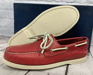 Sperry Top-Sider Men's A/O Crimson Red Comfort Boat Shoes Size 7 M New With Box
